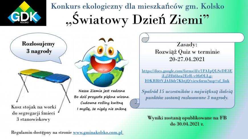 """Konkurs Ekologiczny dla mieszkańców gm. Kolsko """"Światowy Dzień Ziemi"""""""
